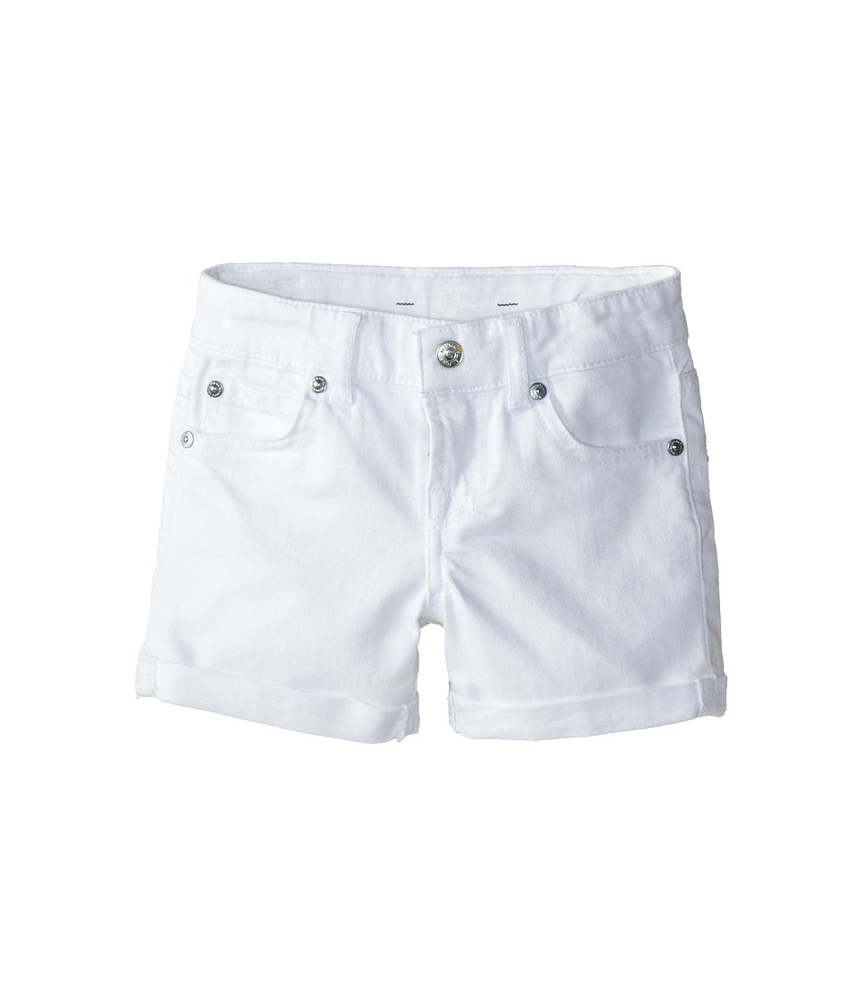 7 For All Mankind Kids - Mid-Roll Shorts in Clean White (Little Kids) (Clean White) Girl