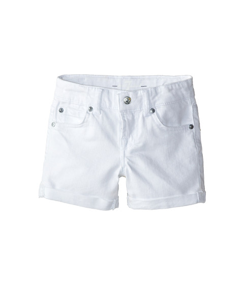 7 For All Mankind Kids - Mid-Roll Shorts in Clean White (Little Kids) (Clean White) Girl's Shorts