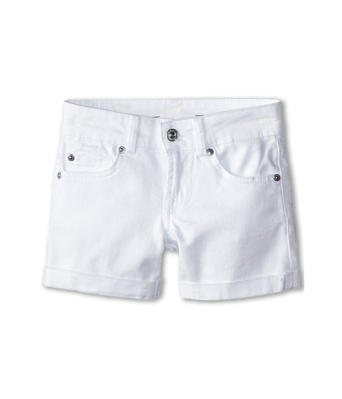 7 For All Mankind Kids - Mid-Roll Shorts in Clean White (Big Kids) (Clean White) Girl's Shorts