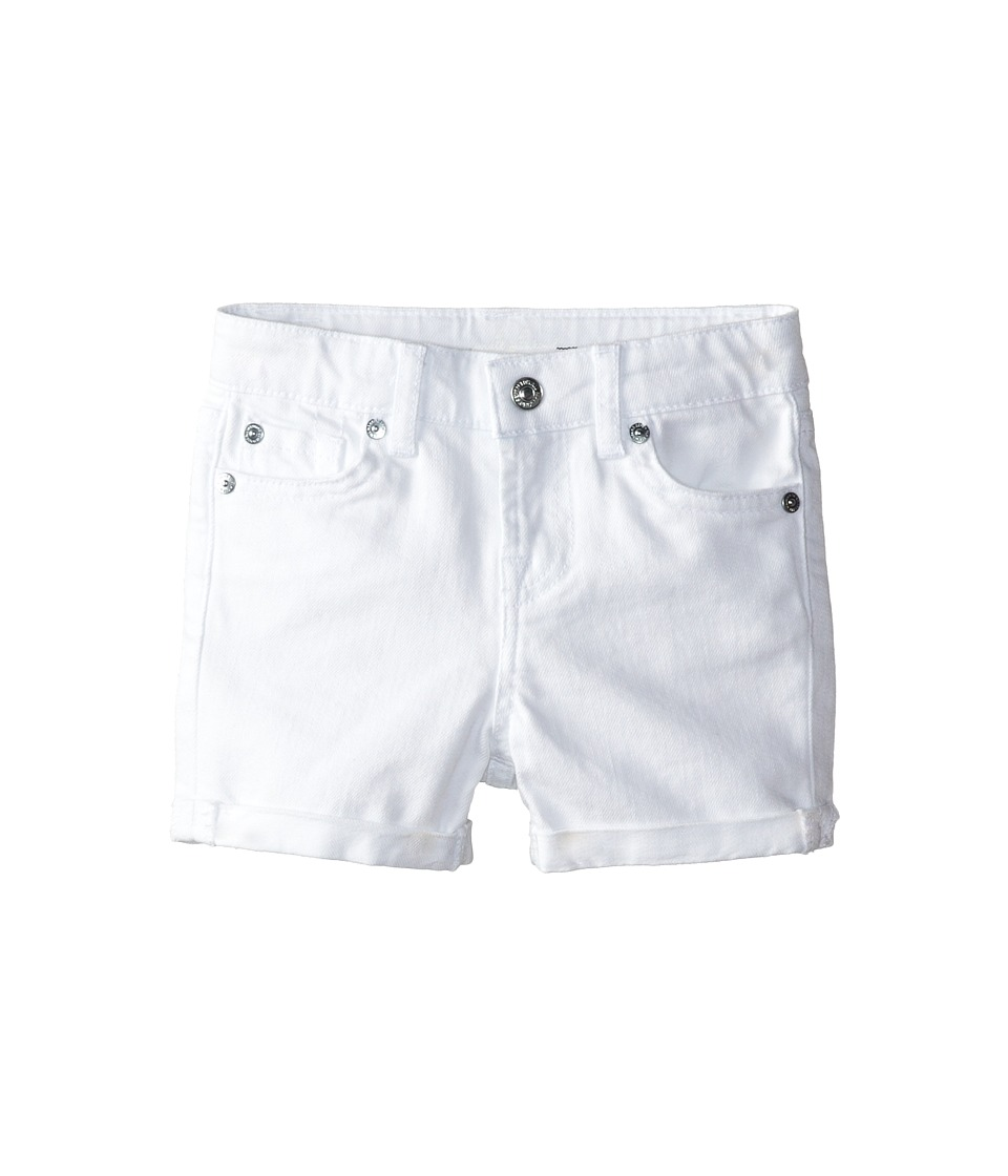 7 For All Mankind Kids - Mid-Roll Shorts in Clean White (Toddler) (Clean White) Girl's Shorts