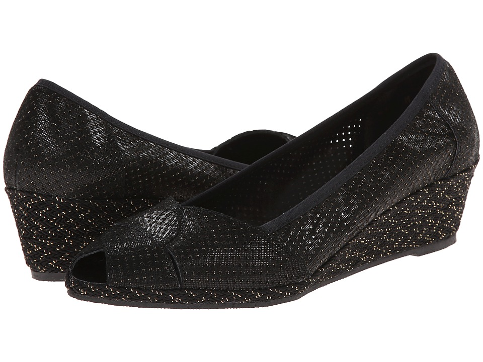 Sesto Meucci - 1706 (Black/Gold Betty) Women's Wedge Shoes