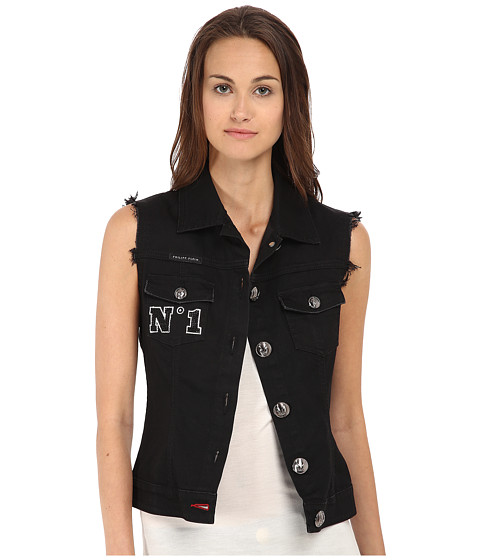 Philipp Plein - Two Denim Vest (Black Diamond) Women's Vest