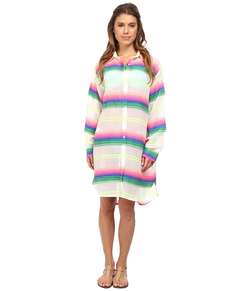 Mara Hoffman Gauze Button Up Top (Rainbow Stripe Gauze) Women