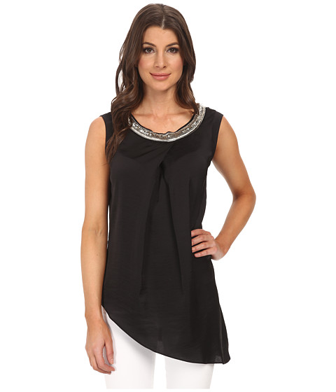 Adrianna Papell - Sleeveless Beaded Blouse with Asymmetrical Hem (Black) Women's Blouse