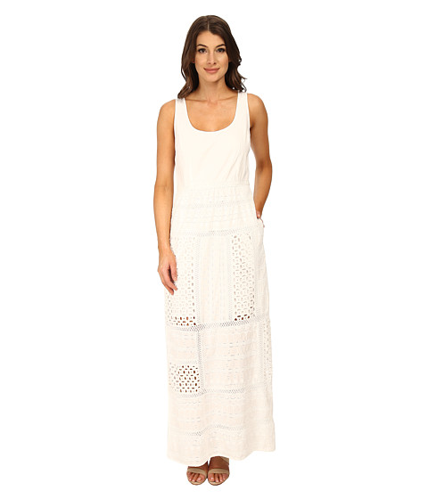Adrianna Papell - Sleeveless Maxi with Eyelet Skirt (White) Women