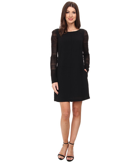 Adrianna Papell - Tunic Dress with Lace Sleeve (Black) Women's Dress
