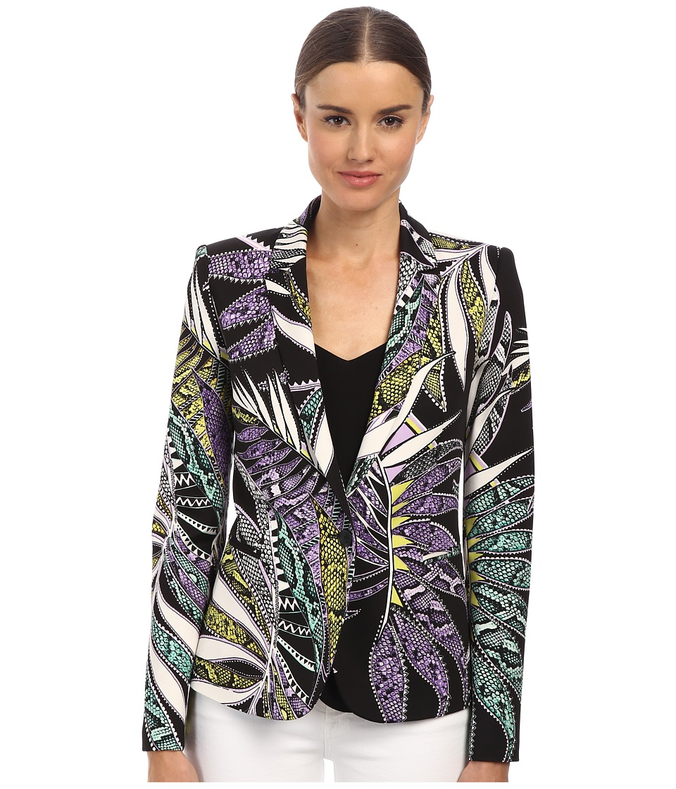 Just Cavalli - Botanical Print Blazer (Black Variant) Women's Coat