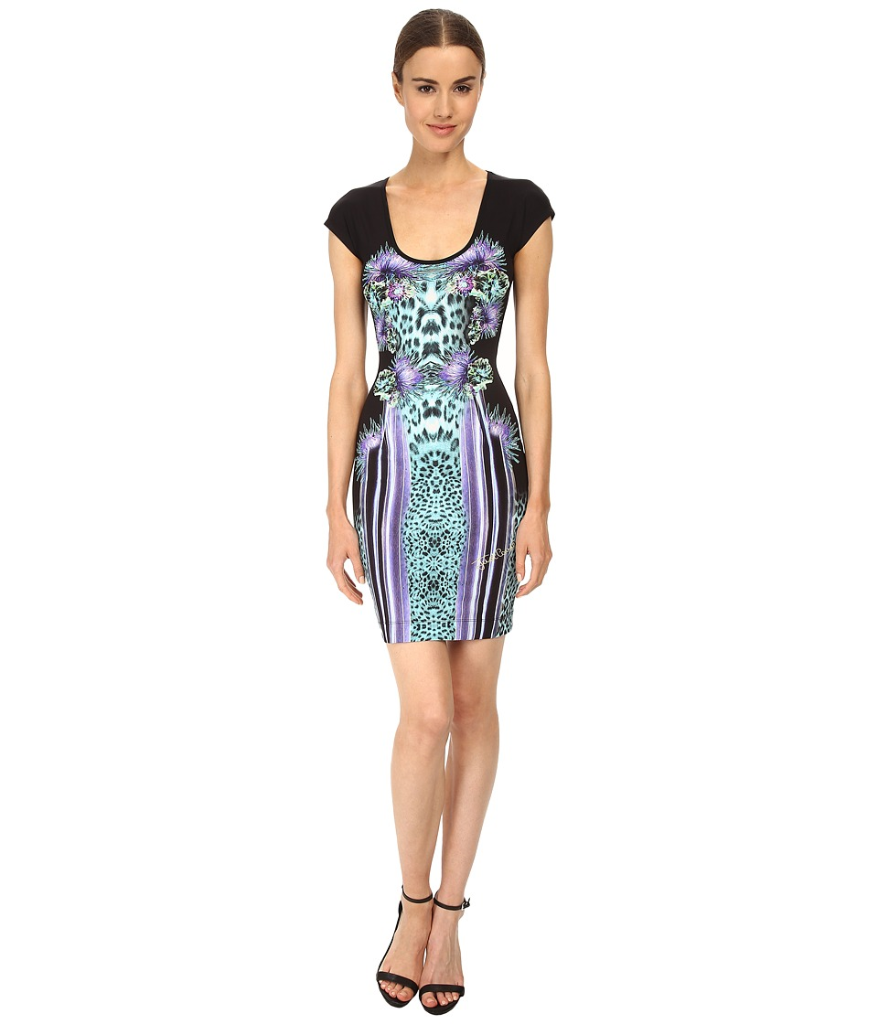 Just Cavalli - Printed Scoop Neck Dress (Black Variant) Women's Dress