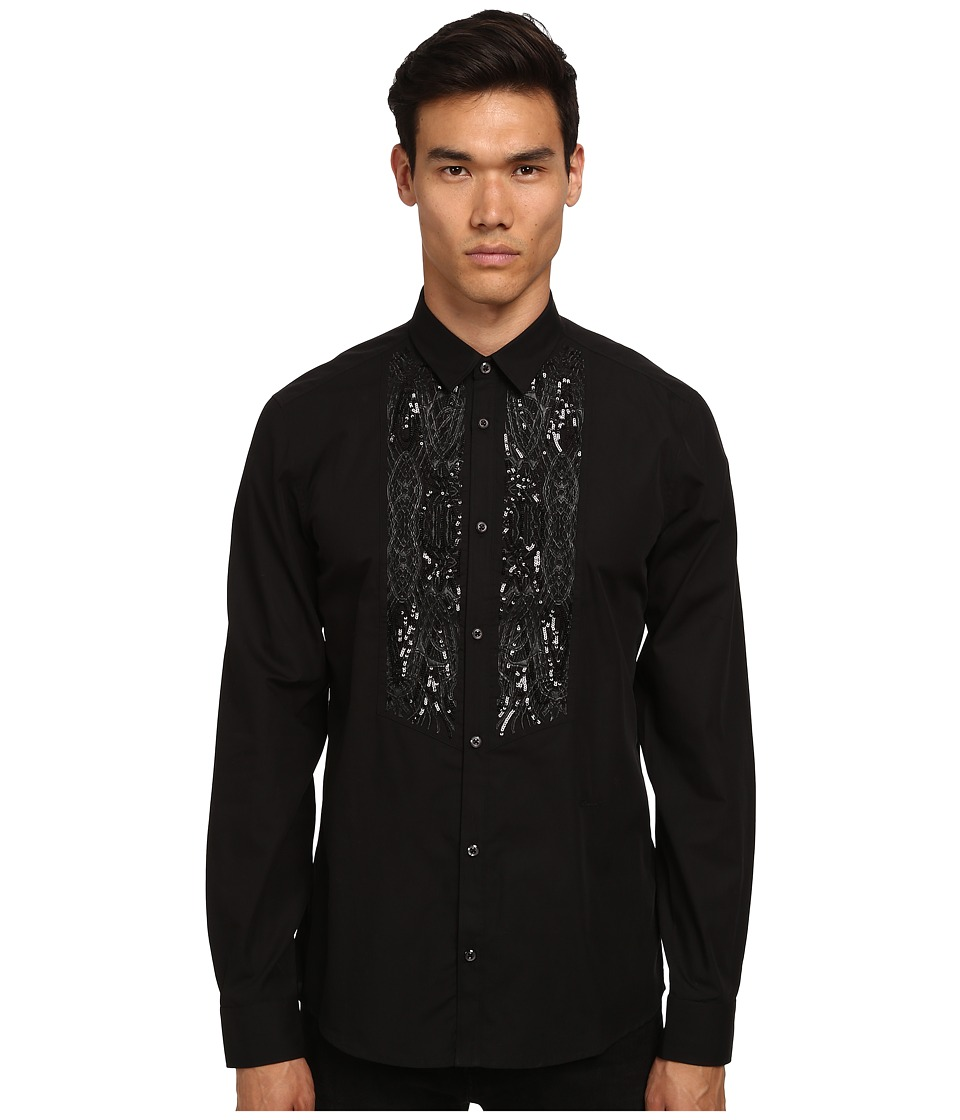 Just Cavalli - Embellished Paisley Tuxedo Shirt (Black) Men's Long Sleeve Button Up