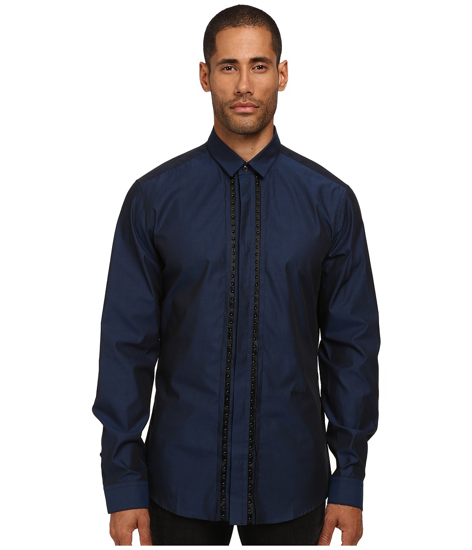 Just Cavalli - Studded Leather Applique Button Up (Blue) Men's Clothing