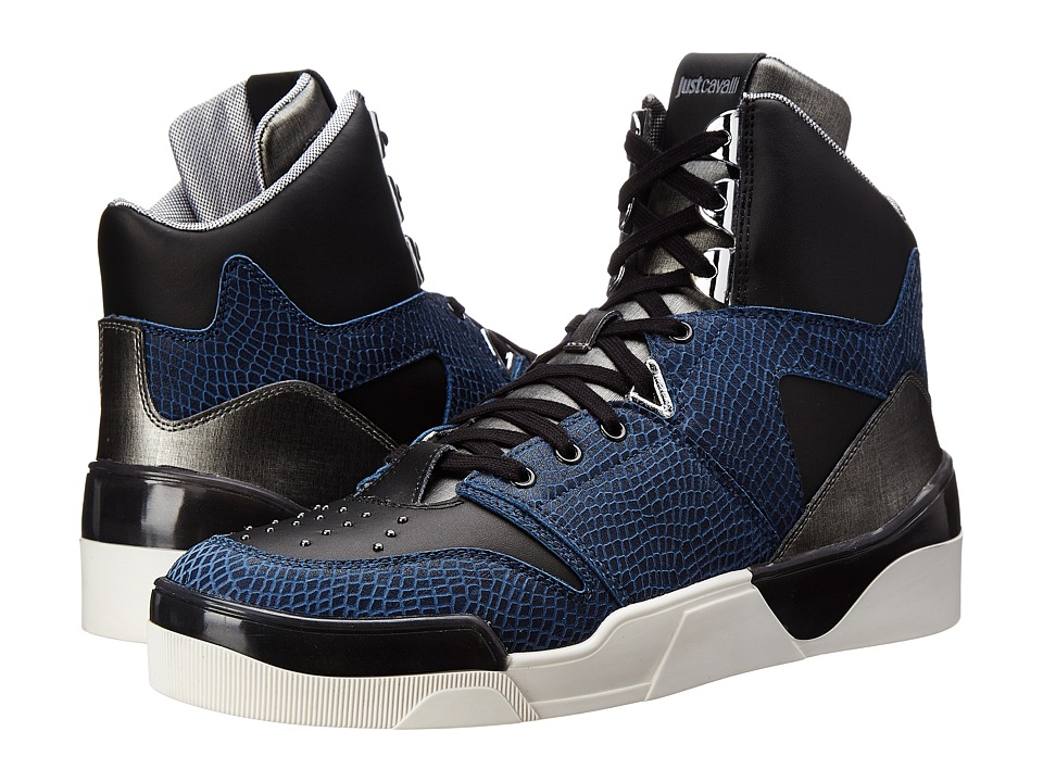 Just Cavalli - Viper and Textured Leather Hi-Top (Blueberry) Men's Shoes