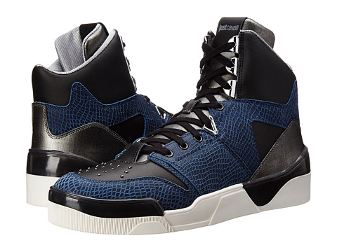 Just Cavalli - Viper and Textured Leather Hi-Top (Blueberry) Men