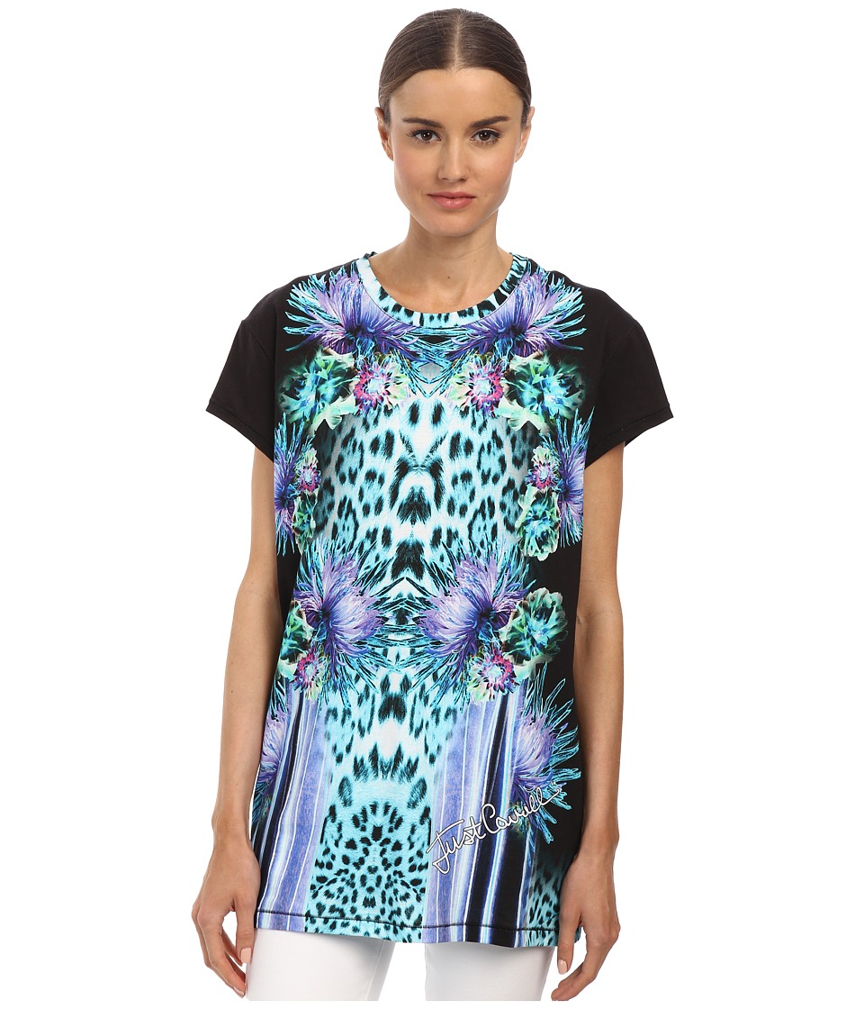 Just Cavalli - Mixed Printed Top (Black Variant) Women's T Shirt