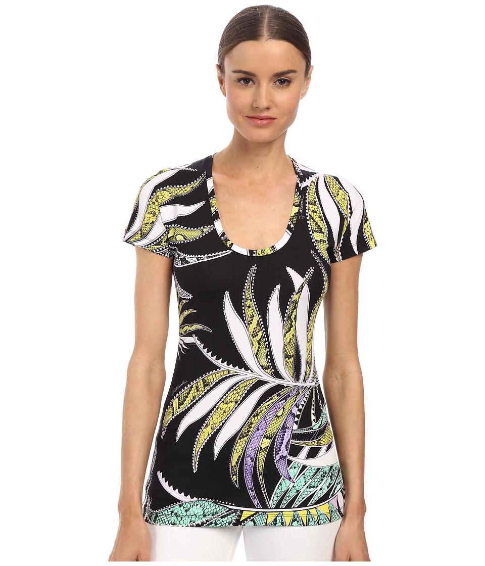 Just Cavalli - Mixed Print Scoop Neck Top (Black Variant) Women