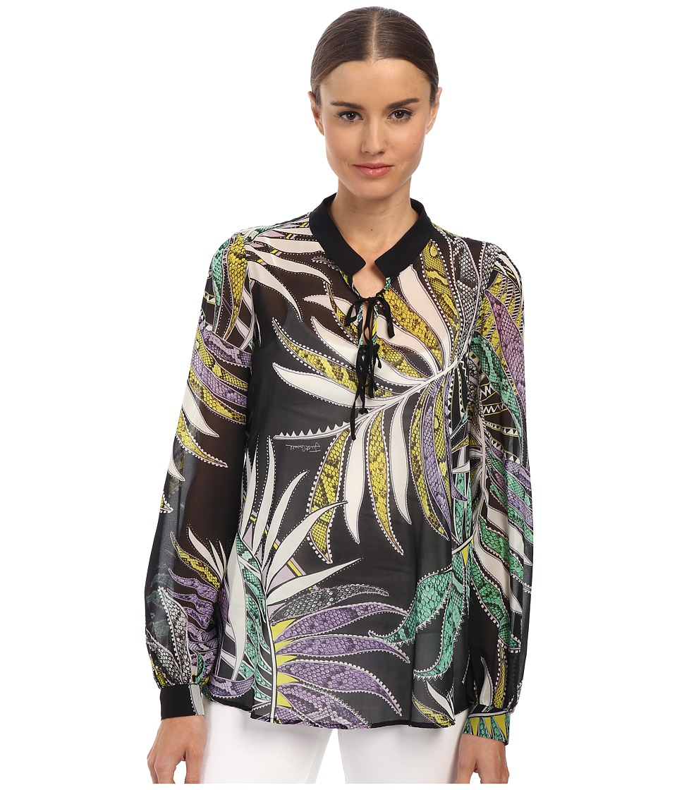 Just Cavalli - Printed Lace-Up Blouse (Black Variant) Women's Clothing