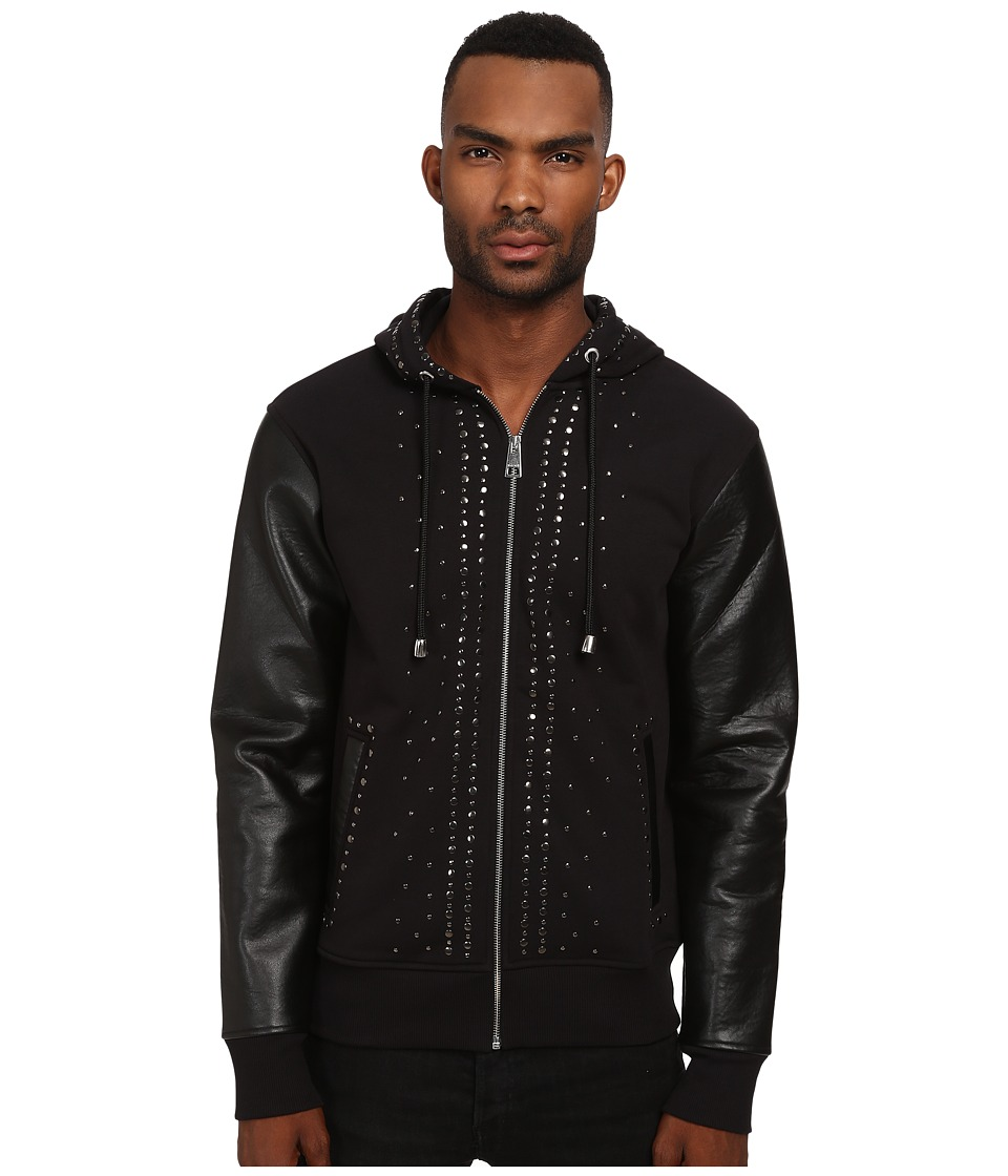 Just Cavalli - Studded Hoodie with Leather Sleeves (Black) Men's Sweatshirt