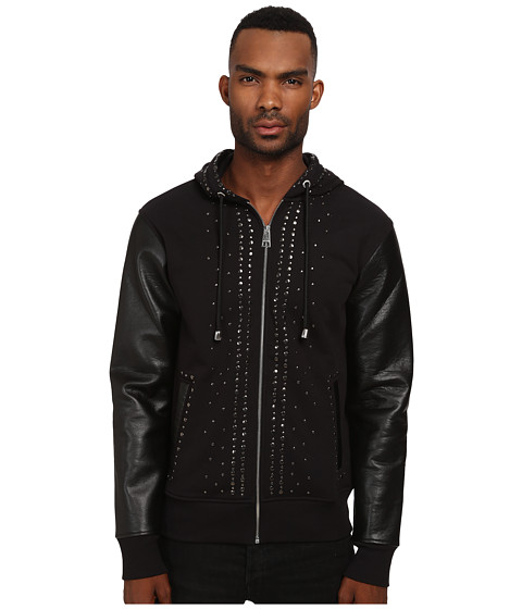 Just Cavalli - Studded Hoodie with Leather Sleeves (Black) Men