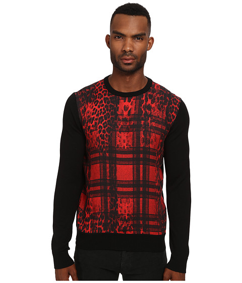 Just Cavalli - Buffalo Rebellion Sweater (Black/Buffalo Rebellion Print) Men's Sweater