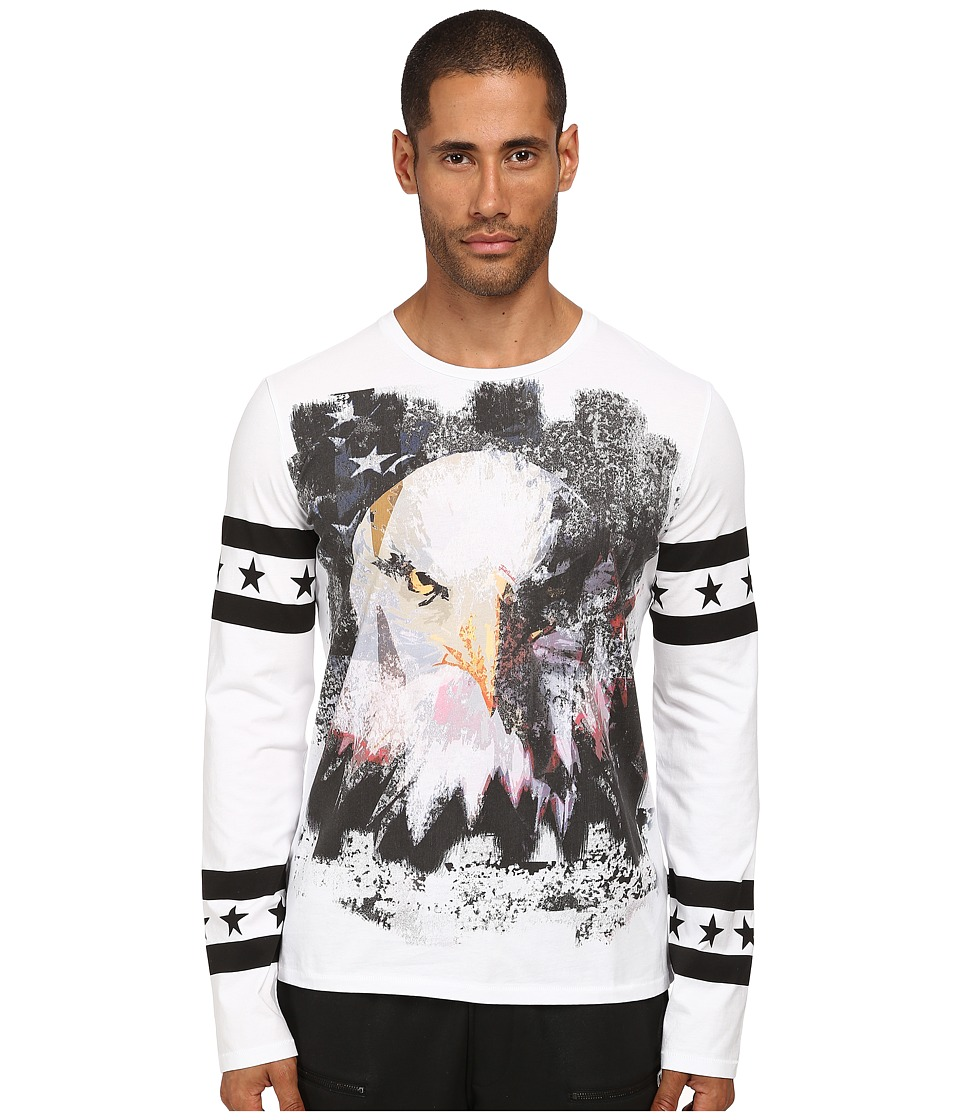 Just Cavalli - Eagle Long Sleeve Tee (White) Men's T Shirt