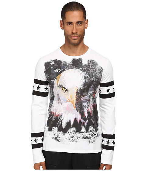 Just Cavalli - Eagle Long Sleeve Tee (White) Men