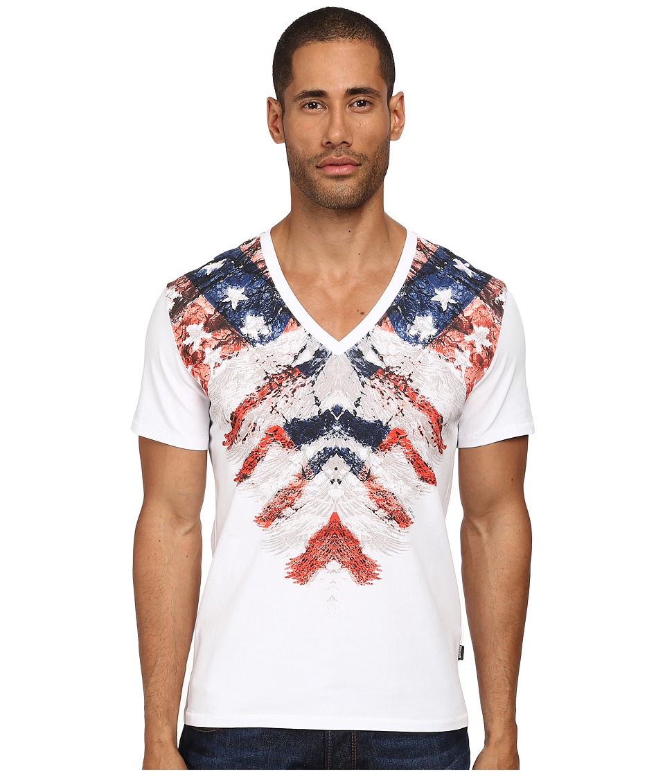 Just Cavalli - Rebellion V-Neck Tee (White) Men's T Shirt