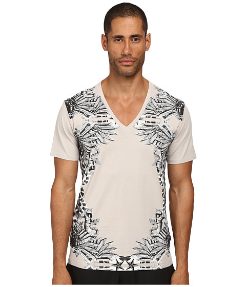 Just Cavalli - Winged V-Neck Tee (Stone) Men
