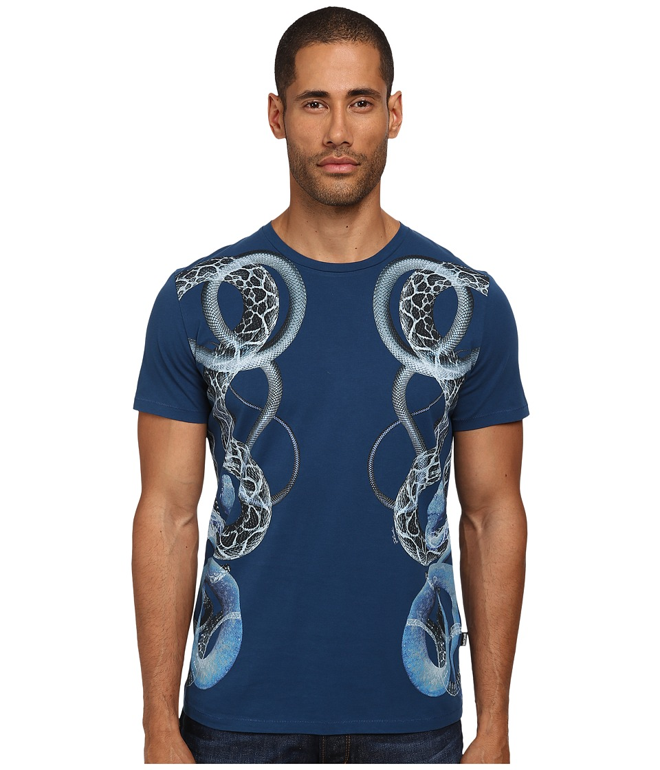 Just Cavalli - Serpent Sides Tee (Blue Berry) Men