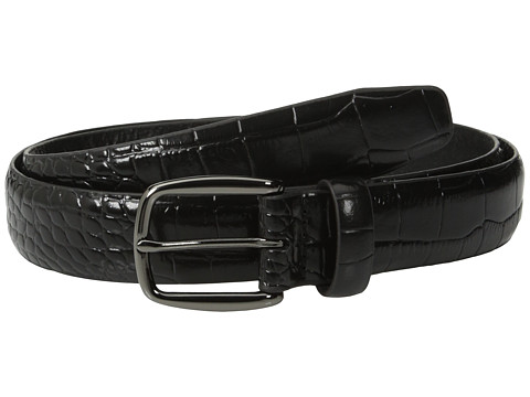 Johnston & Murphy - Croc Print Belt (Black) Men's Belts