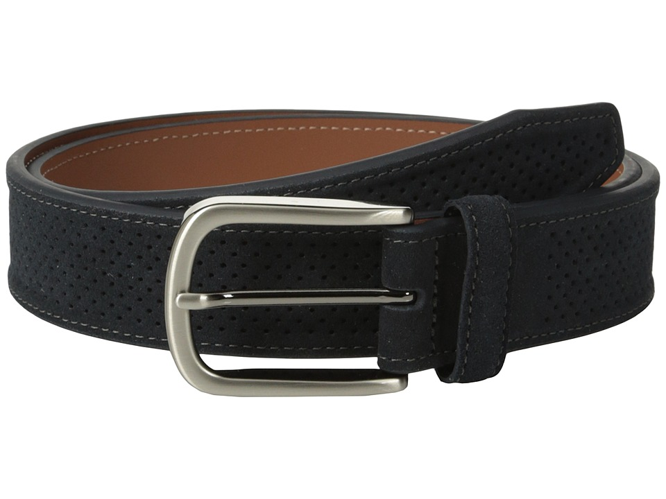 Johnston & Murphy - Perforated Suede (Navy) Men's Belts