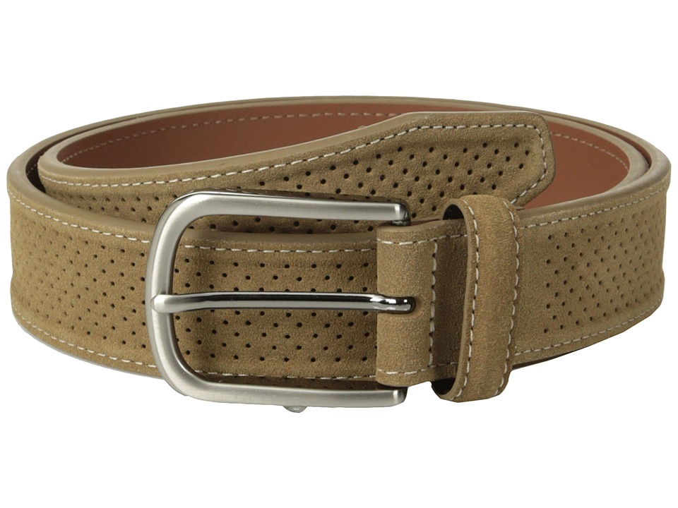 Johnston & Murphy - Perforated Suede (Tan) Men's Belts