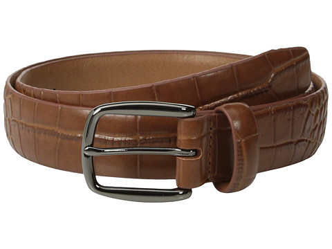 Johnston & Murphy - Croc Print Belt (Tan) Men's Belts