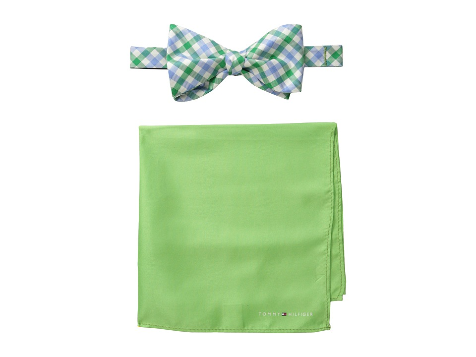Tommy Hilfiger - Gingham Solid Bowtie and Pocket Square Settie and Pocket Square Set (Green) Ties