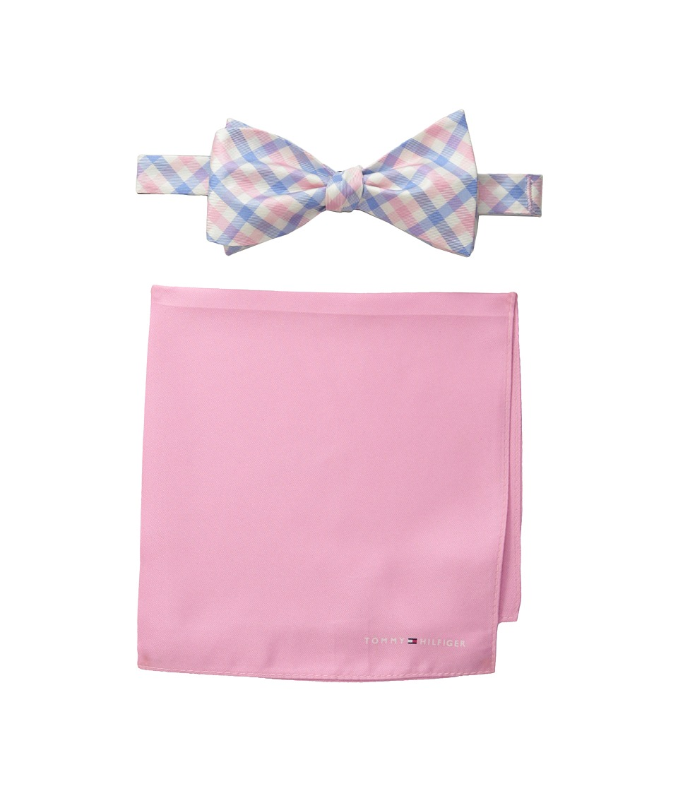 Tommy Hilfiger - Gingham Solid Bowtie and Pocket Square Settie and Pocket Square Set (Pink) Ties