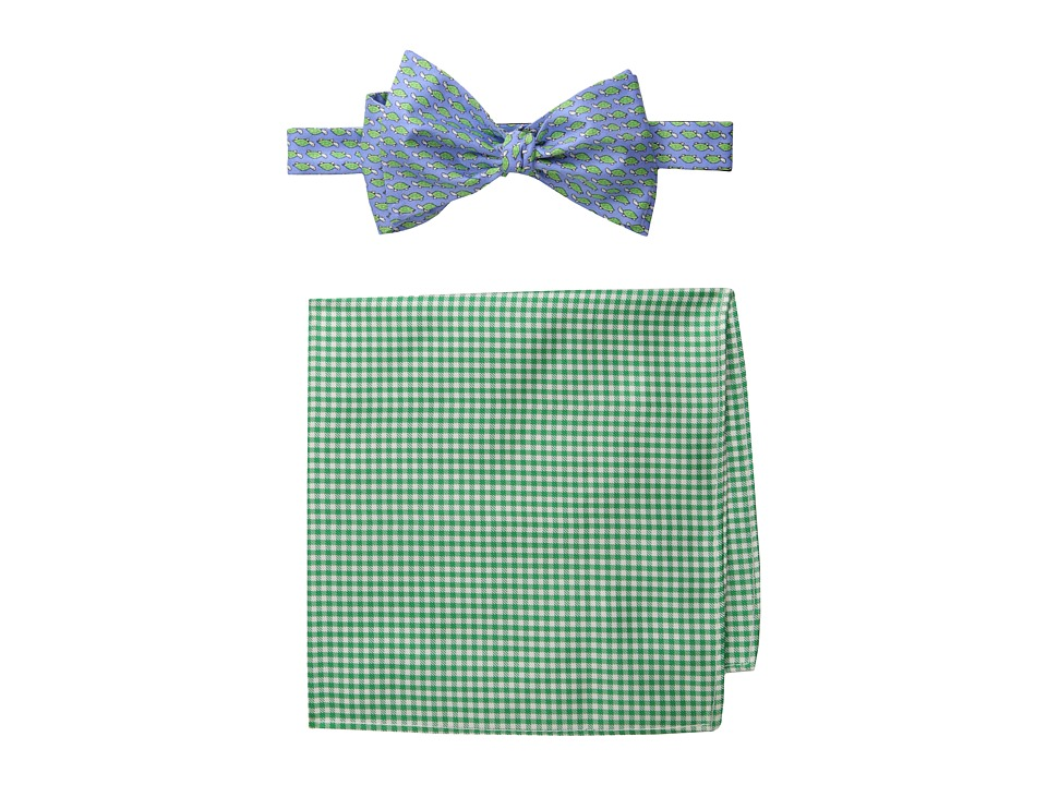 Tommy Hilfiger - Turtle Gingham Bowtie and Pocket Square Set (Green) Ties