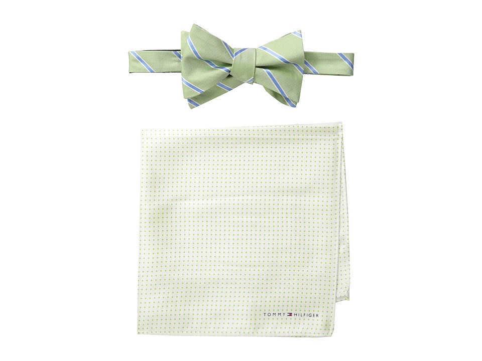 Tommy Hilfiger - Oxford Stripe and Dot Bowtie and Pocket Square Set (Green) Ties