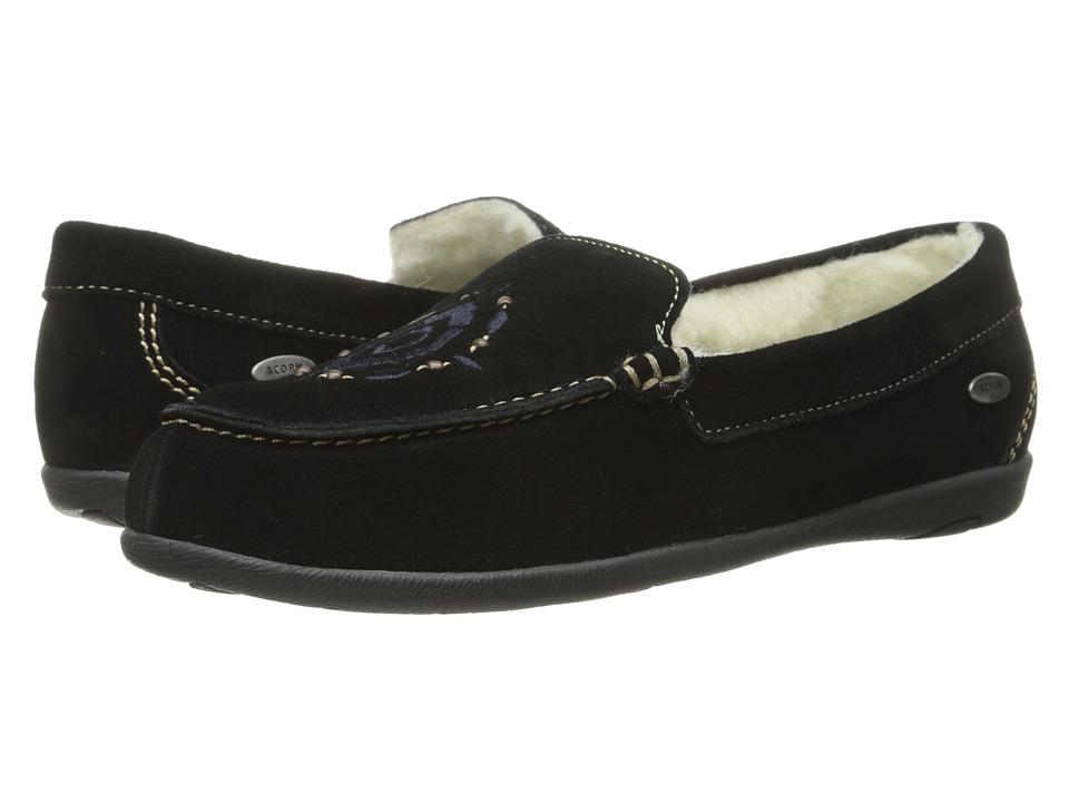 Acorn - Prima Moc w/ FirmCore (Black) Women's Slippers