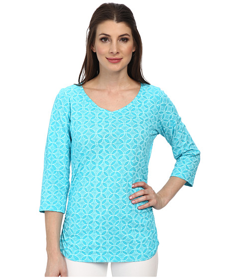 Fresh Produce - Circle Coast 3/4 Sleeve Coffee House Tee (Luna Turquoise) Women