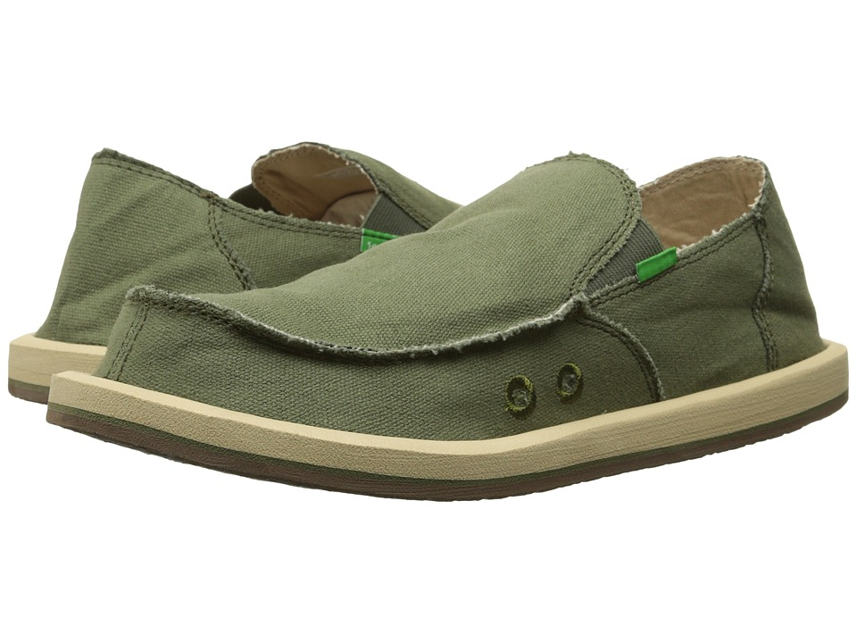 Sanuk - Vagabond (Olive) Men's Slip on Shoes