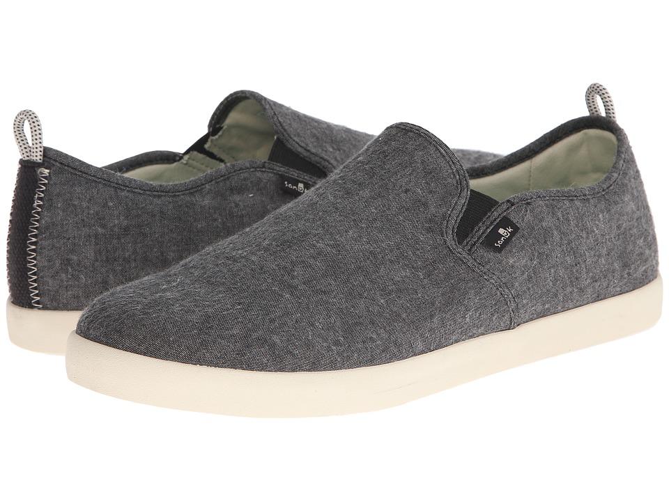 Sanuk - Range TX (Black Chambray) Men's Slip on Shoes