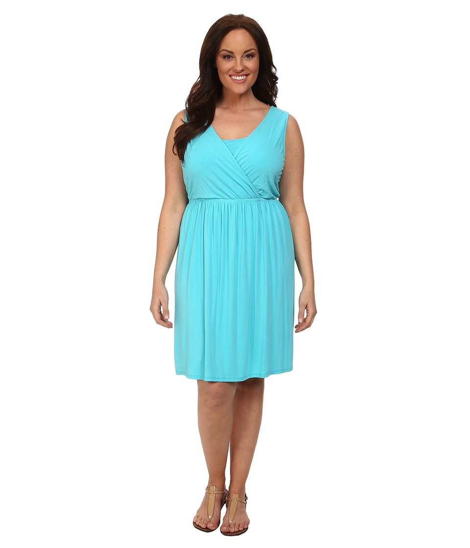 Fresh Produce - Plus Size Crossover Tank Dress (Luna Turquoise) Women