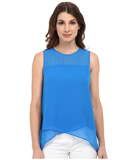 Vince Camuto - Sleeveless Blouse w/ Asymmetrical Layered Hem (Electric Sky) Women's Blouse