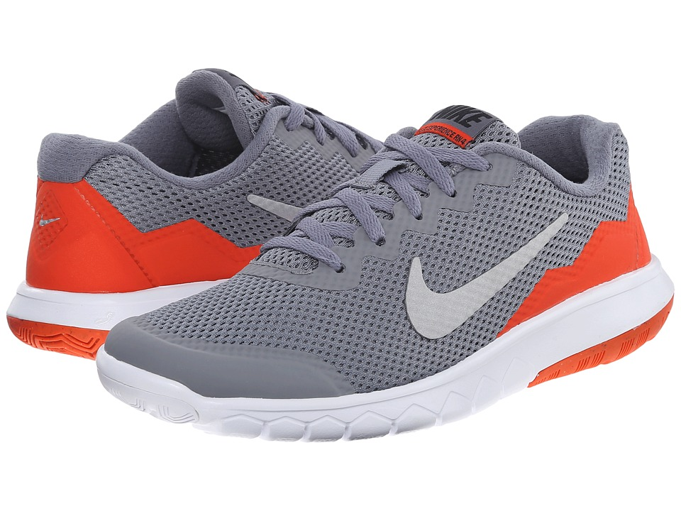 Nike Kids - Flex Experience 4 (Big Kid) (Cool Grey/Metallic Silver/Team Orange) Boys Shoes