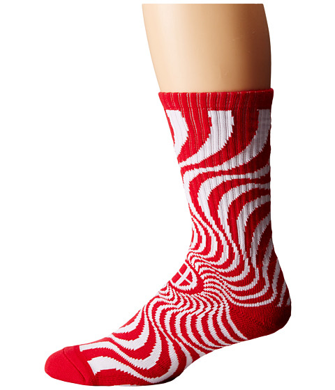 HUF - Huf X Spitfire Swirl Sock (Red) Crew Cut Socks Shoes
