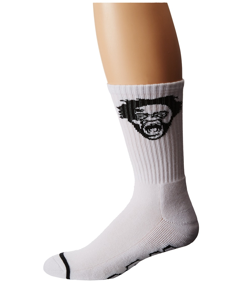 HUF - Harold Hunter Crew Sock (White) Crew Cut Socks Shoes