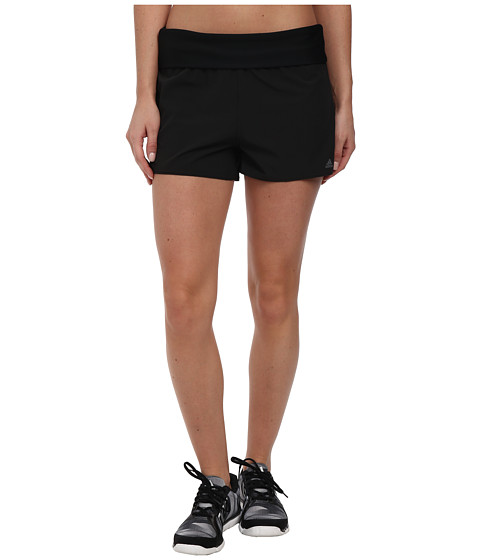 adidas - 3 Stripe Solids Roll Down Waist Shorts (Black) Women