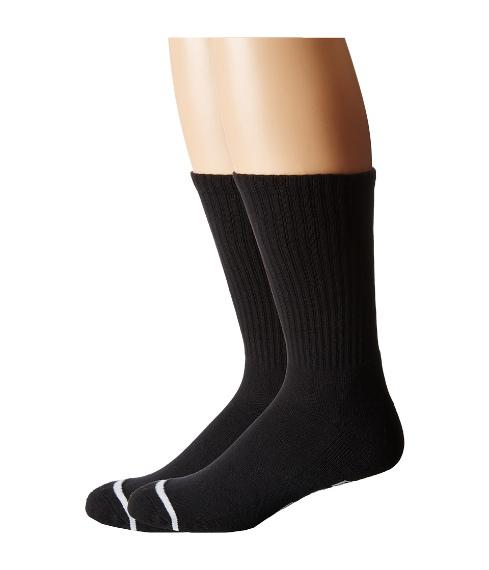 HUF - 2-Pack Basics (Black) Crew Cut Socks Shoes