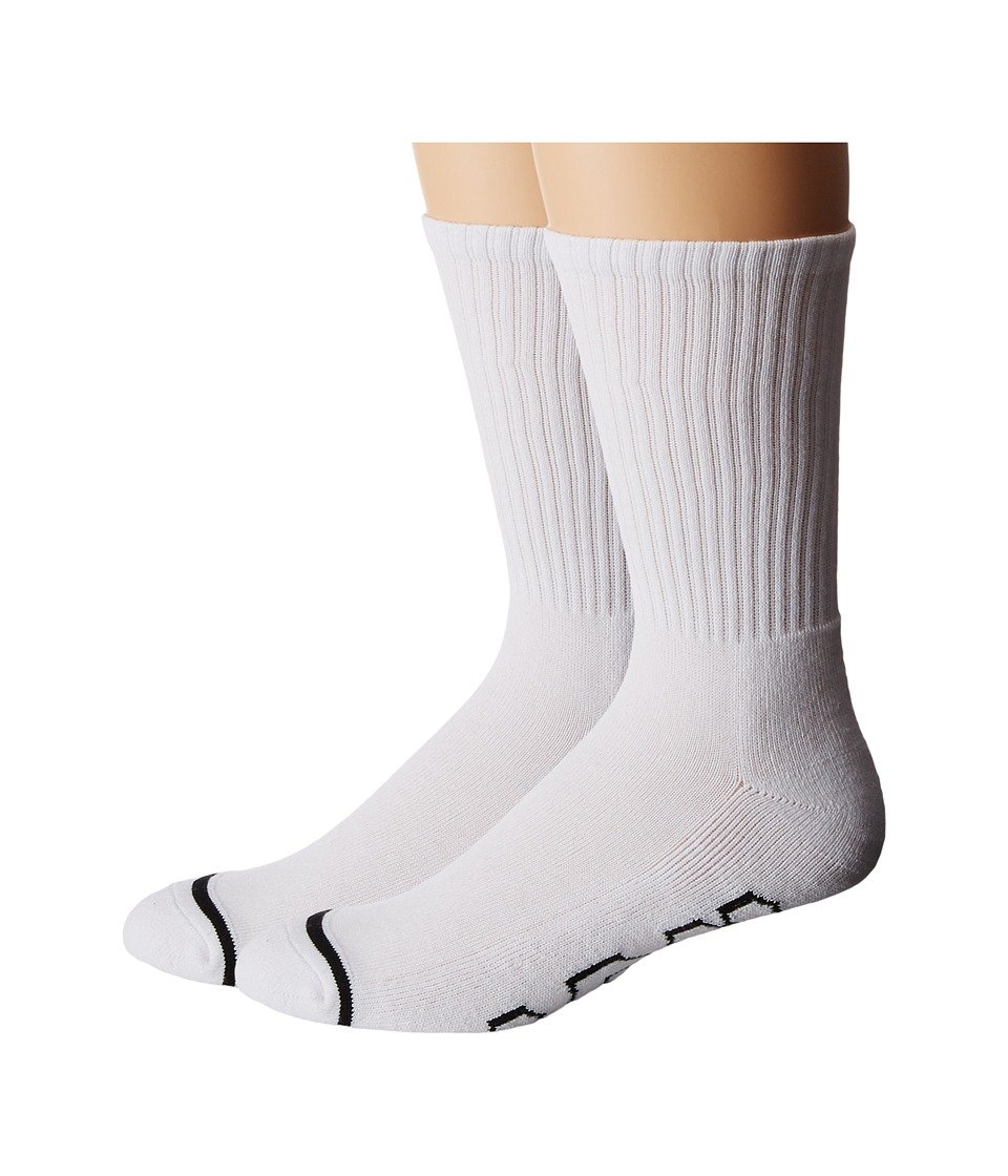 HUF - 2-Pack Basics (White) Crew Cut Socks Shoes