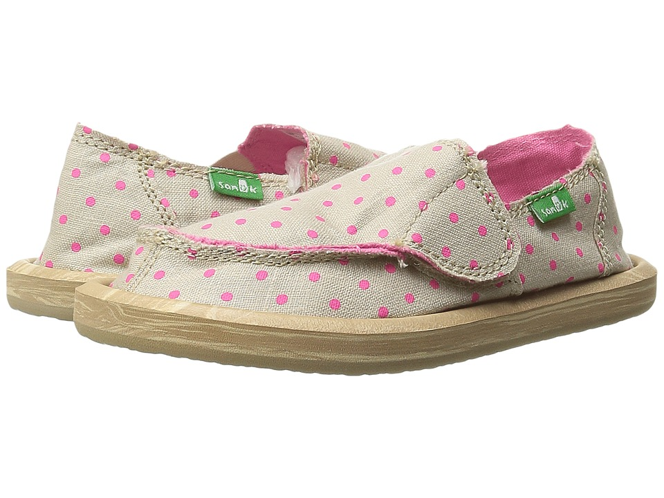 Sanuk Kids - Hot Dotty (Toddler/Little Kid) (Natural/Hot Pink Dots) Girls Shoes
