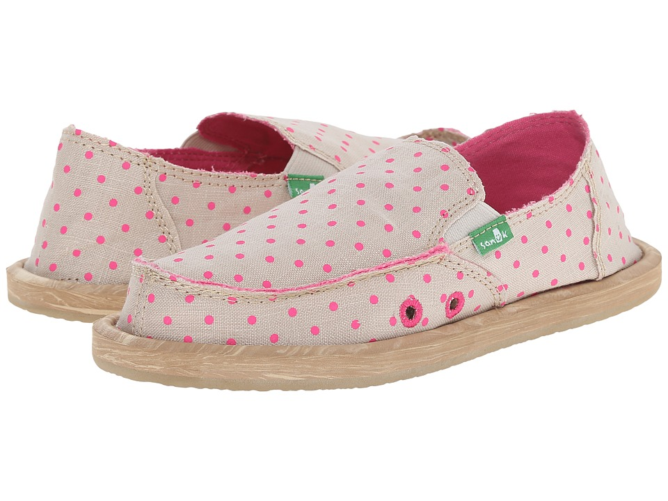 Sanuk Kids - Hot Dotty (Little Kid/Big Kid) (Natural/Hot Pink Dots) Girls Shoes