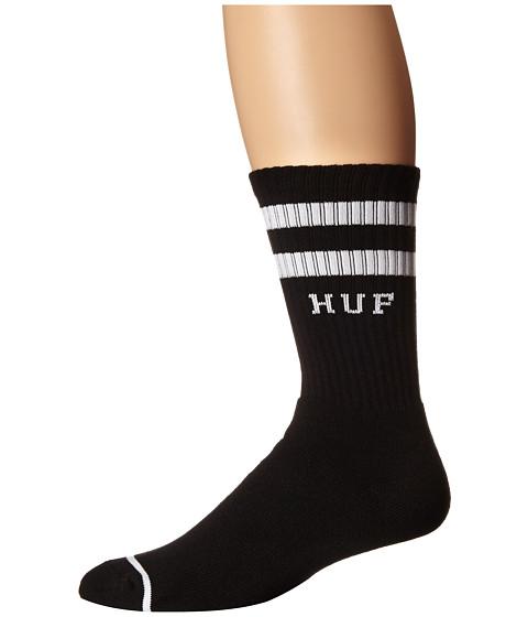 HUF - 2 Stripe Crew Sock (Black SU15) Crew Cut Socks Shoes